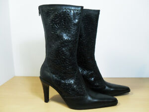 ZARA Women's Black Leather Boots Size EU 40 US 9