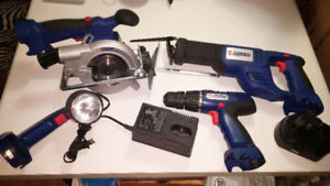 outils rechargeable: scie sauteuse,scie ronde,perceuse lampe