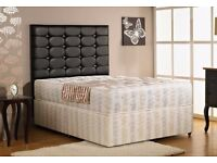 Double divan bed with diamante cube headboard and mattress