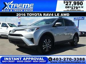 2016 Toyota RAV4 LE AWD $179 bi-weekly APPLY NOW DRIVE NOW