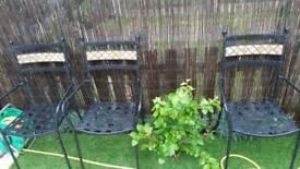 Garden patio black cream ceramic chair chairs