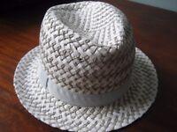 Hat, Summer Italian Fedora, Grey & White - Quality & Comfortable