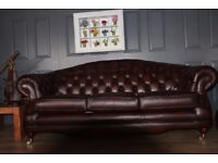 Thomas Lloyd 3 seater sofa & 2 armchairs leather chesterfield suite RRP £3657