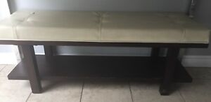 Cream and dark brown bench