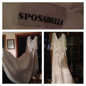 Wedding dress, plus size with vail+hat, made by Sposabella