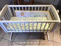 Mothercare Swinging crib (White) & Airflow foam mattress