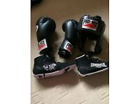 Boxing gloves, shoes and head guard