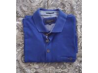 "Two Ted Baker Men's Polo Shirts in Cool, Mesh Knit Cotton – one blue, one black. Size 5 (42"" chest)"