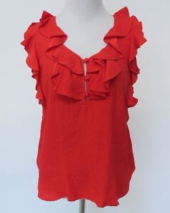 Rebecca Taylor Red Silk Ruffle Blouse Top