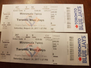 2 Blue jays tickets for Saturday Aug 26