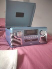 Blue Retro Record Player/CD Player and Radio