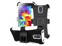 New Samsung Galaxy S5 Dual Layer ShockProof Case with Kickstand, 2 x Tempered Glass Screen Protector