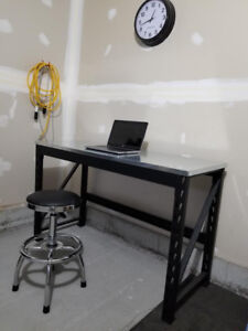 Metal Workbench Table with Swivel Stool