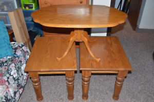 Oak two end and one coffee table.REDUCED