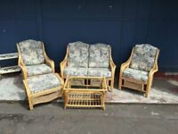 Eye Catching Conservatory Set With Footstool.