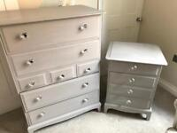 Stag Tallboy Chest of Drawers and Bedside Table