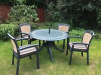 Hartman Dark Green Resin Patio Table (150cm) with 4 Armchairs (inc cushions) and Parasol