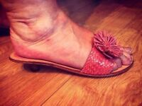 Pink Ladies Flowered Detailed Sandals - Excellent Condition - Size 5
