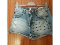 Pull & bear studded denim shorts