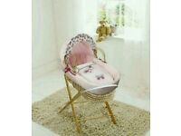 Kinder valley pink Butterfly Plam moses basket with opal Folding stand. Brand new 5 left in stock.
