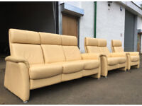 3+2+1 Cream leather scandinavian recliner sofas, suite, couches VGC DELIVERY AVAILABLE
