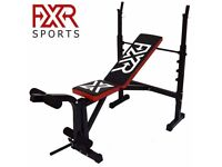 FXR SPORTS ADJUSTABLE WEIGHTS BENCH WITH RACK INCLINE DECLINE FLAT LEG BAR GYM