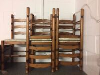 Set of Five Pine Chairs