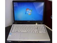 "Toshiba Satellite P200 17"" Laptop running Windows 7"
