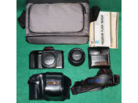 Minolta 5000 35 mm SLR camera with lens, flash, cases