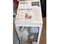 Avent bottles, tears, steriliser, and electric and manual breast pumps