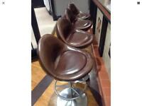 Set Of four johanson design brown leather bar stools
