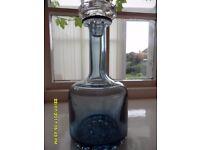 GLASS DECANTER IN BLUE 1960s RETRO - heavy