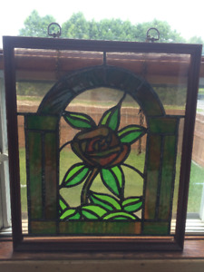 Vintage handmade stained glass panel