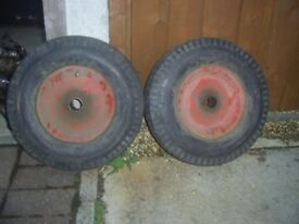 2 Deli Tire 4.80 4.00-8 tyres with inner tubes on cart wheels excellent condition
