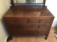 Oak Mirrored Dressing Table (1920s/1930s) good quality
