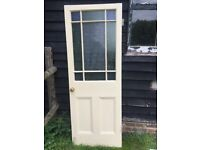 Unusual bespoke coloured glass panelled solid wood cottage doors (sold together)
