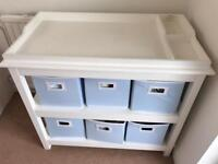 White Company Baby Changing unit and 6 Storage Boxes