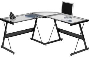 Glass L shape computer desk bureau ordinateur vitre en L