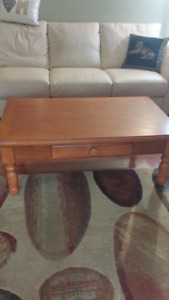 Solid wood coffee table and 2 end tables. Very small mark on cof