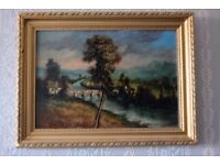 Antique Victorian Landscape Oil Painting on Board in Gilt Frame