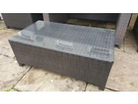 Rattan glass topped coffee table