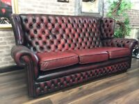 Chesterfield High Back Sofa - Oxblood Red