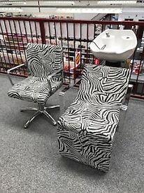 Zebra Print! 6 x REM Hyd Chairs & 2 Electric Cascade Wash Units - NEW