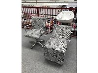 Zebra Print! 6 x REM Hyd Chairs & 2 Electric Cascade Wash Units - NEW