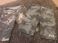 2 pairs of 36 inch waist G star shorts