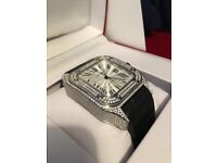 Cartier Santos XL Watch , Leather Strap Iced Out