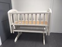 WHITE John Lewis Anna Glider Crib with mattress and fitted sheets
