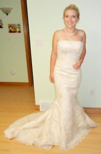 SIZE 8 CHAMPAGNE COLOUR WEDDING DRESS - NEW WITH TAGS!!