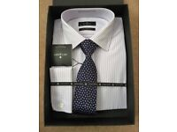 "Jeff Banks Shirt & Silk Tie Set Size 16"" (Non Iron) Brand New RRP £50"