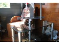 Large clear glass mounted TV stand, 43inch wide